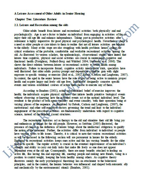 professionally written literature review essay litearture review sample example of a literature
