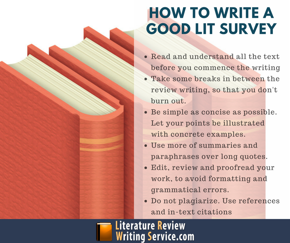 how to write a literature survey How do you write a great dissertation literature review a review will typically  display all or many of the following characteristics.