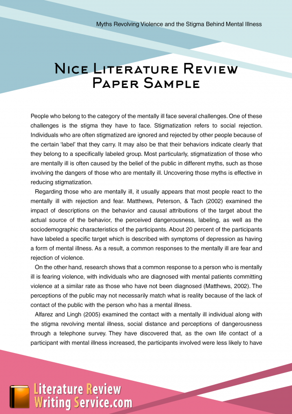 literature review research paper apa Sample apa papers: literature review in a research article by salzman (1996), two specific questions were addressed for guiding the study.