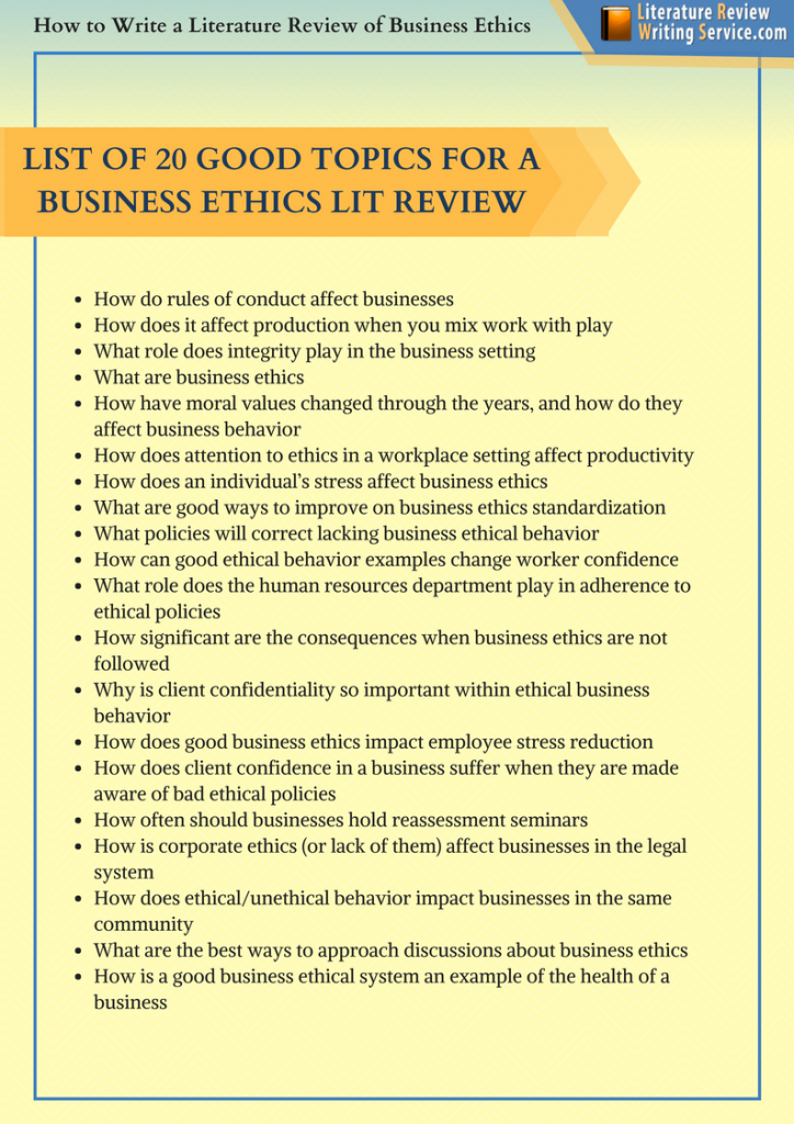 ethics writing literature review sample