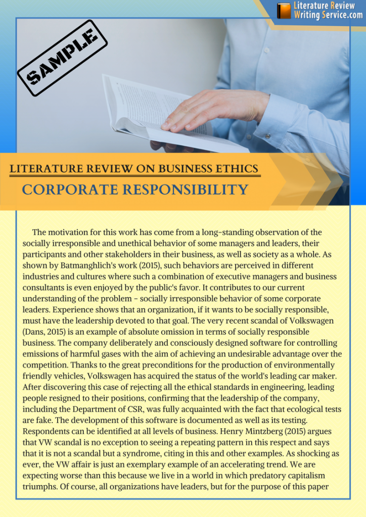 literature review on business ethics example