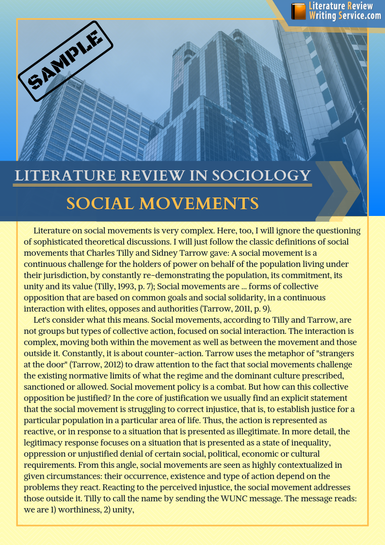 professional example of literature review in sociology