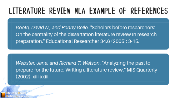 literature review sample mla references